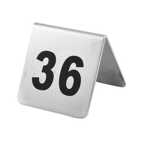 Restaurant Stainless Steel Free-standing Number 36 Table Sign Black Silver Tone