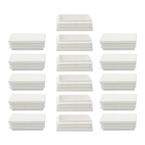 16pcs 40 x 60mm Plastic Rectangle Ribbed Tube Inserts End Cover Cap Furniture Desk Table Feet Floor Protector