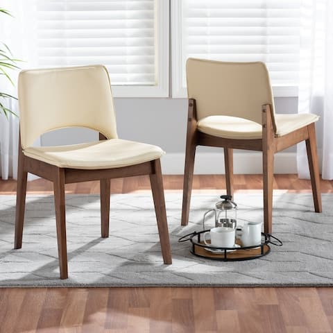 Afton Mid-Century Modern 2-Piece Dining Chair Set