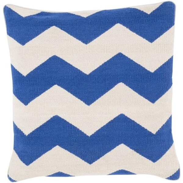 """20"""" Blue and Ivory Chevron Pattern Decorative Square Throw Pillow"""