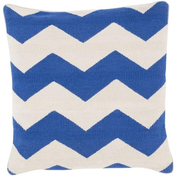 "20"" Rayures De Chevron Blue and Light Gray Decorative Square Throw Pillow"