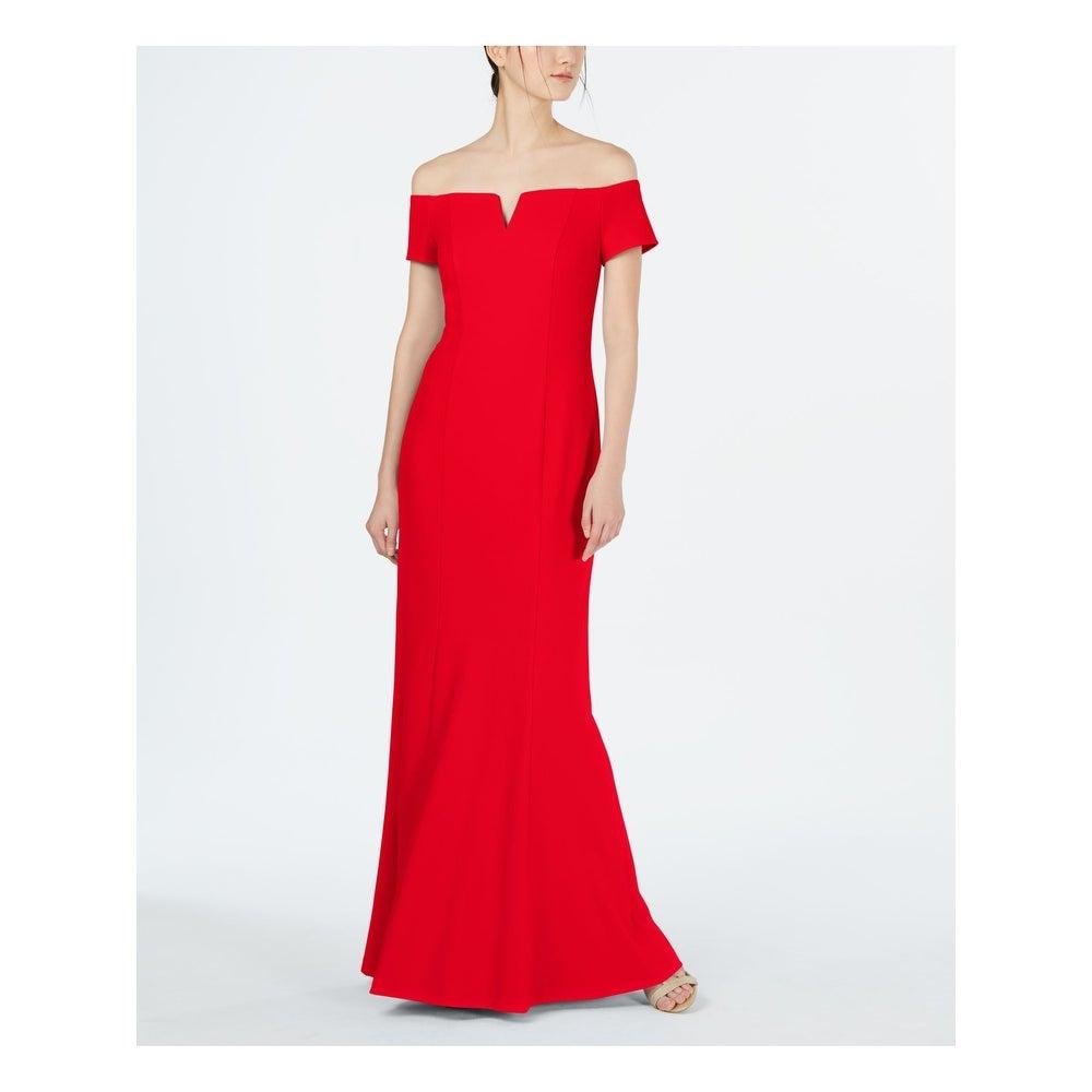 CALVIN KLEIN Womens Red Full-Length Sheath Formal Dress Size 12