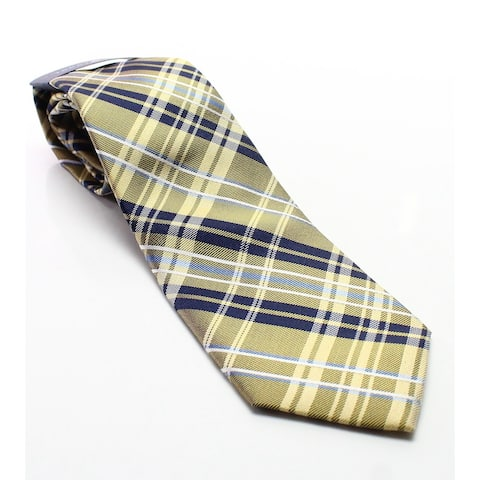 Tommy Hilfiger Men's Yellow & Blue Plaid Patterned Silk Woven Neck Tie