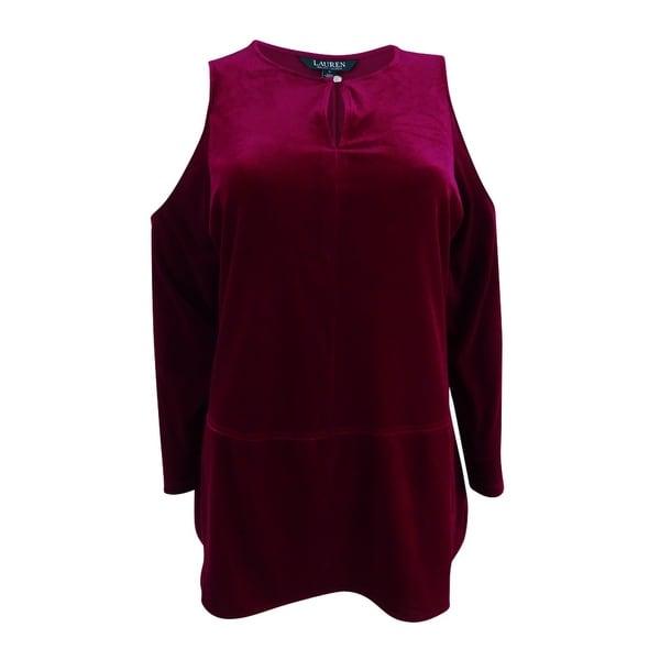 8f09393b0ff1 Shop Ralph Lauren Women's Velvet Cold-Shoulder Top - Winter Violet - Free  Shipping On Orders Over $45 - Overstock - 22990512