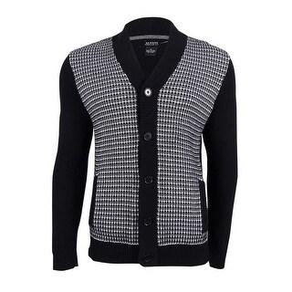 Alfani Men's Colorblocked Textured Cardigan (S, Deep Black Combo) - deep black combo - S