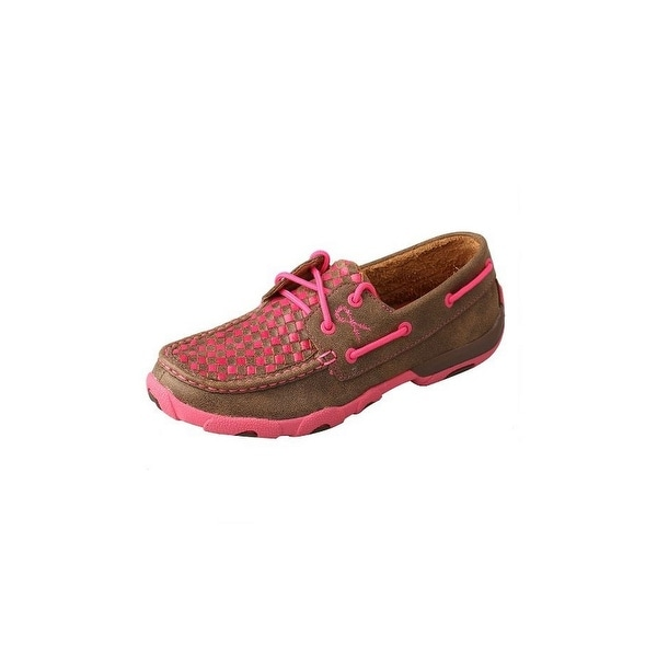 Twisted X Casual Shoes Womens Tough Mocs Lace Up Brown Pink