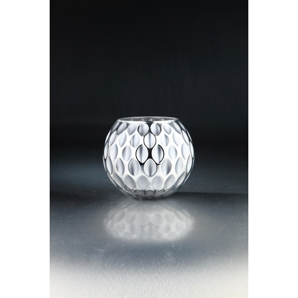 """8.5"""" White and Silver Oval Shape Pattern Glass Tabletop Decor - N/A"""