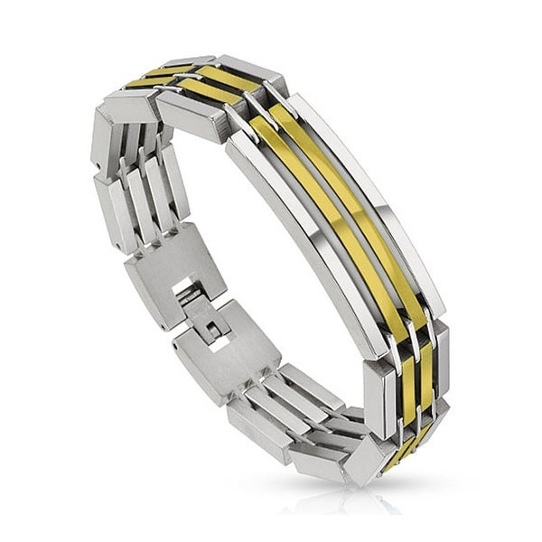Dual Toned Crescent Center Link Gold IP Segmented Stainless Steel Bracelet (14 mm) - 8.5 in