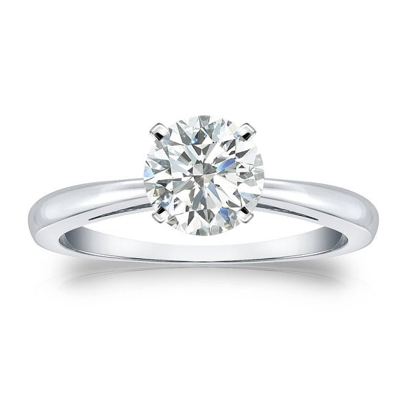 Auriya Platinum 1ctw Round Solitaire Diamond Engagement Ring. Opens flyout.