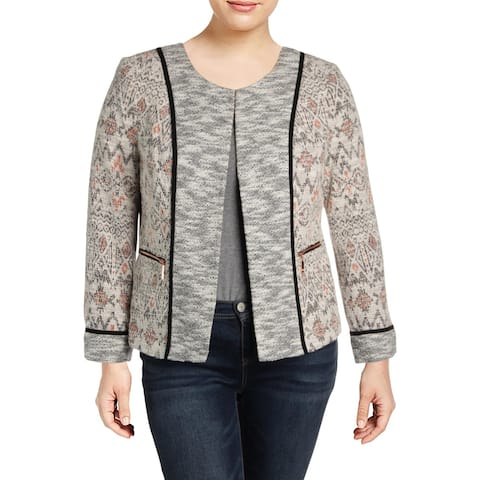 Ivanka Trump Womens Georgia Peach Tweed Jacket Double Zipper Printed