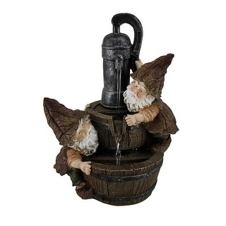 The Leaky Faucet Leaf Gnomes Pumping Water Decorative Tabletop Fountain 11 Inch