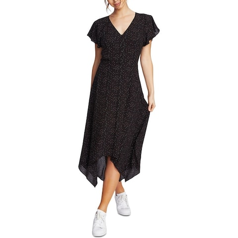 1.State Womens Midi Dress Polka Dot Handkerchief Hem - Red/Black/Cherry Multi