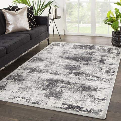 Ziv Abstract Grey/ White Area Rug