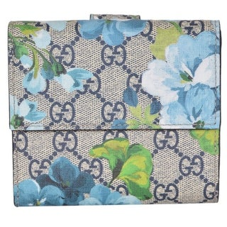 """Gucci Women's 410071 GG Blooms Supreme Coated Canvas French Wallet - 4.5"""" x 4"""