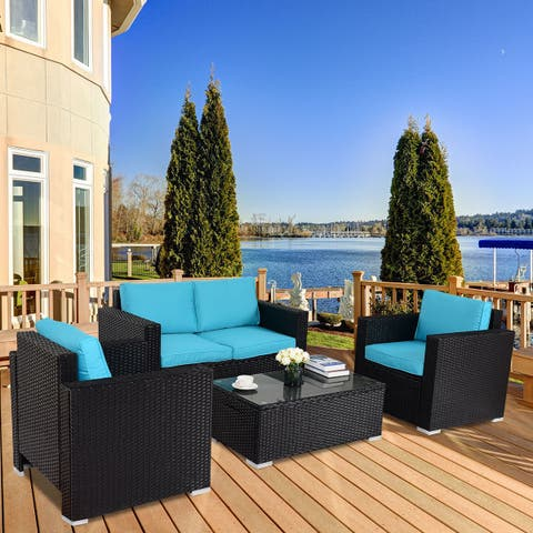 Gymax 4PC Rattan Patio Furniture Set Outdoor Wicker With Blue Cushion