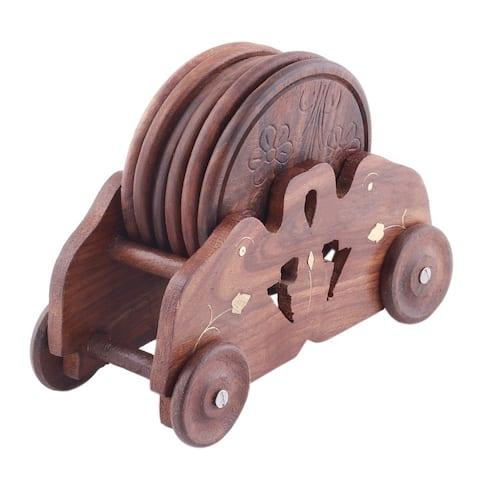 Benzara Mango wood Handmade Cart Style 6 Piece Round Coaster Set With Holder, Brown