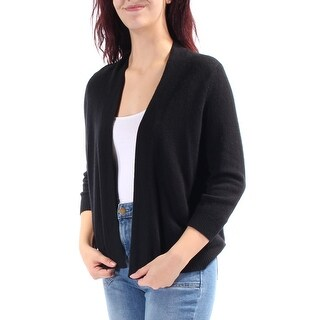 Womens Black 3/4 Sleeve Open Sweater Size M
