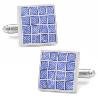 Purple Enamel Checker Square Silver Plated Cufflinks