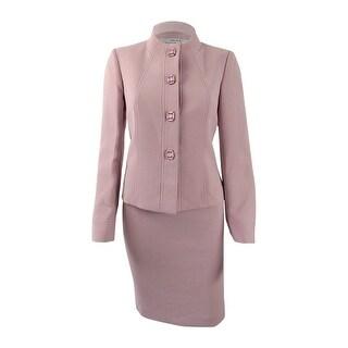 Tahari ASL Women's Petite Jewel-Embellished Skirt Suit - antique pink