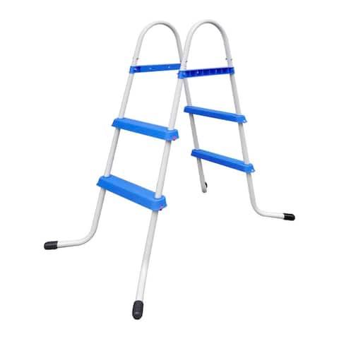 """vidaXL Steel Frame Pool Ladder Non-Slip Steps 34.0"""""""