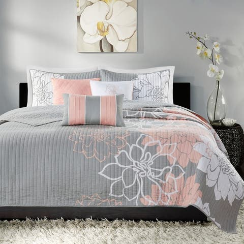 Madison Park Brianna 6 Piece Reversible Cotton Printed Coverlet Set