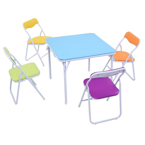 Costway Kids 5 Piece Folding Table Chair Set Children Multicolor Play Room Furnitur