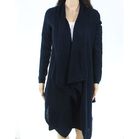 Joe Fresh Women's Blue Size XL Draped Open-Front Cardigan Sweater
