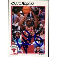 Signed Hodges Craig Chicago Bulls 1991 NBA Hoops Basketball Card autographed