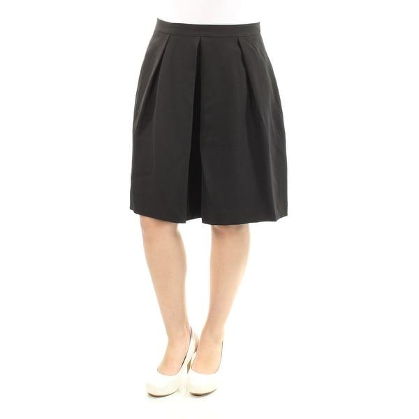 ANNE KLEIN Womens Black Knee Length Pleated Skirt Size: 6