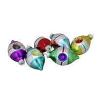 "Set of 6 Early Years Retro Reflector Glass Teardrop Christmas Ornaments 3.25"" - multi"