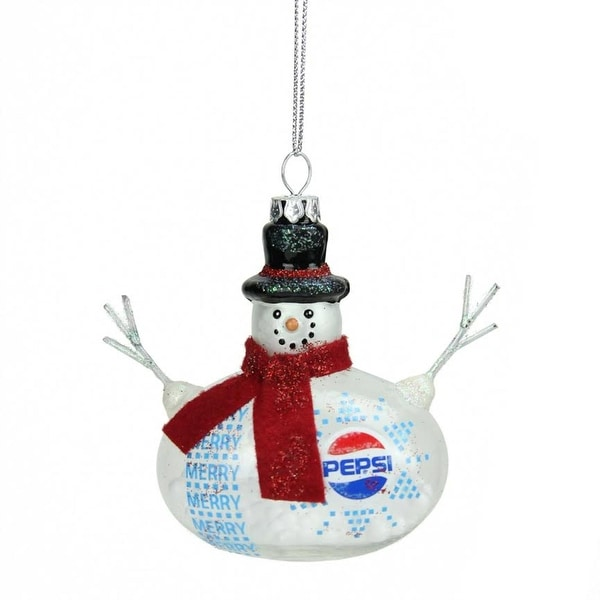 "3.75"" Snow Filled Glass Country Snowman Pepsi Christmas Ornament - RED"