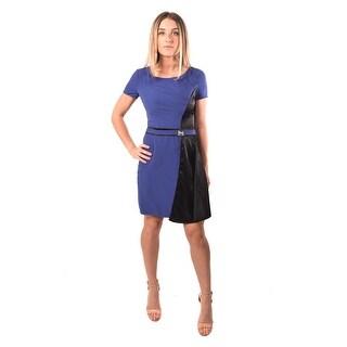 Versace Jeans Women Crepe Bark Dress Navy Black