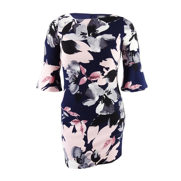 Vince Camuto Women's Floral-Print Bell-Sleeve Dress - Navy Multi