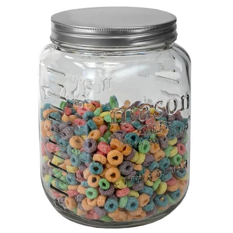 122 oz. Large Mason Glass Canister, Clear - 122 oz