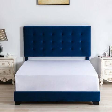 Morden Fort Upholstered Platform Bed Frame with headboard Velvet Fabric/ Solid Wood Slat Support / Box Spring Needed