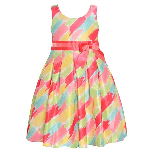 34581f3c0af Shop Bonnie Jean Girls Coral Multi Stripe Knee-Length Easter Dress - Free  Shipping On Orders Over  45 - Overstock - 27102894