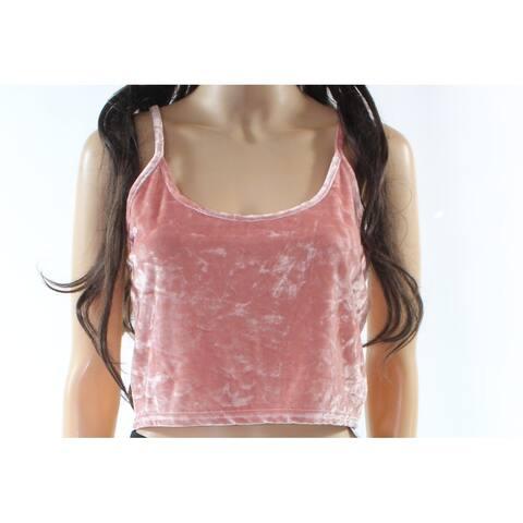 TopShop Light Women's Textured Crop Top Velvet Solid Blouse