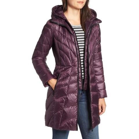 Bernardo Purple Womens Size Medium M Glossy Quilted Walker Coat