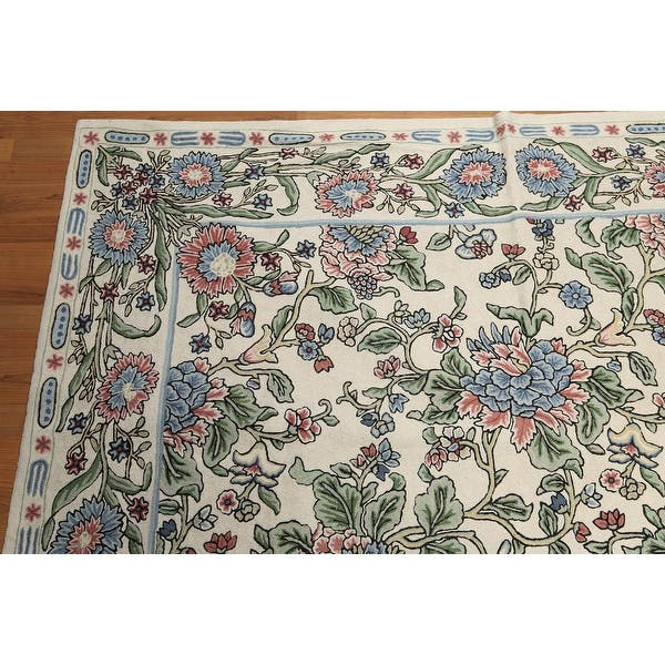 Hand Knotted Beige Blue Pale Pink Green Multi Hand Hooked Wool Traditional Oriental Area Rug 6x9 6 X 9 Overstock 31519821