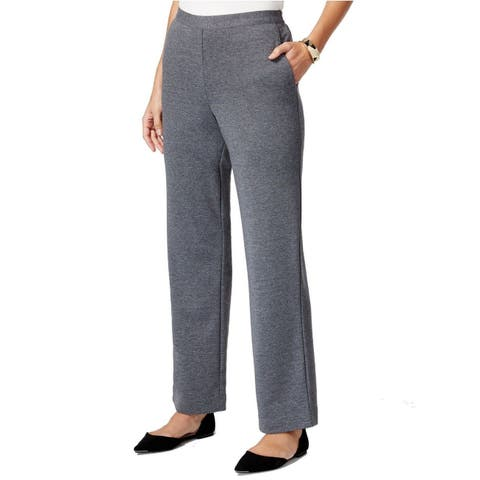 Alfred Dunner Pull-On Straight-Leg Trousers (Heather Grey, 14) - 14