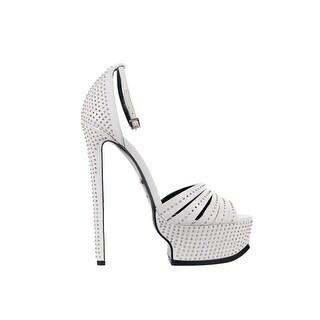 Roberto Cavalli White Leather Embellished Studded Platform Heels