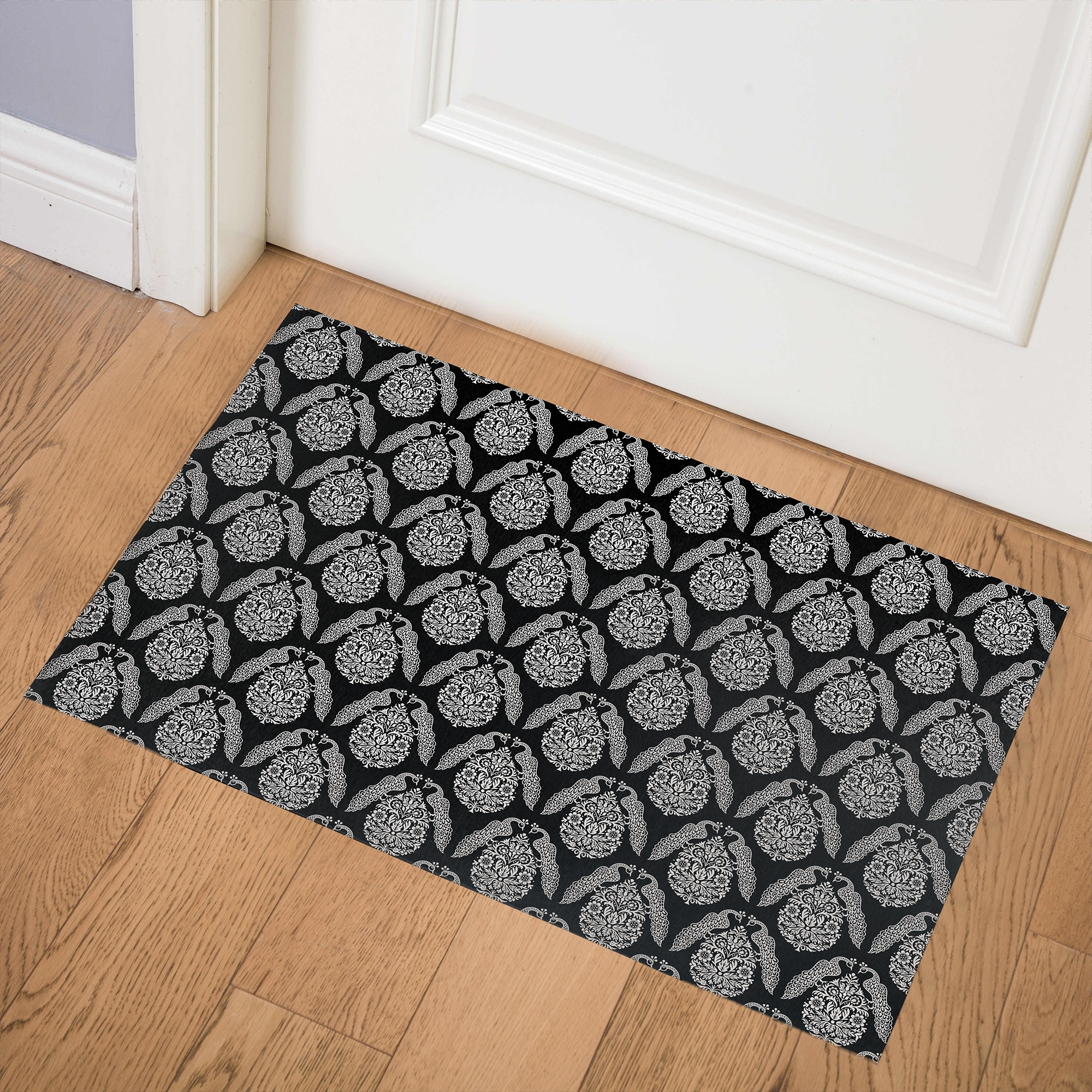 Peacock Black Indoor Door Mat By Kavka Designs Overstock 31960640