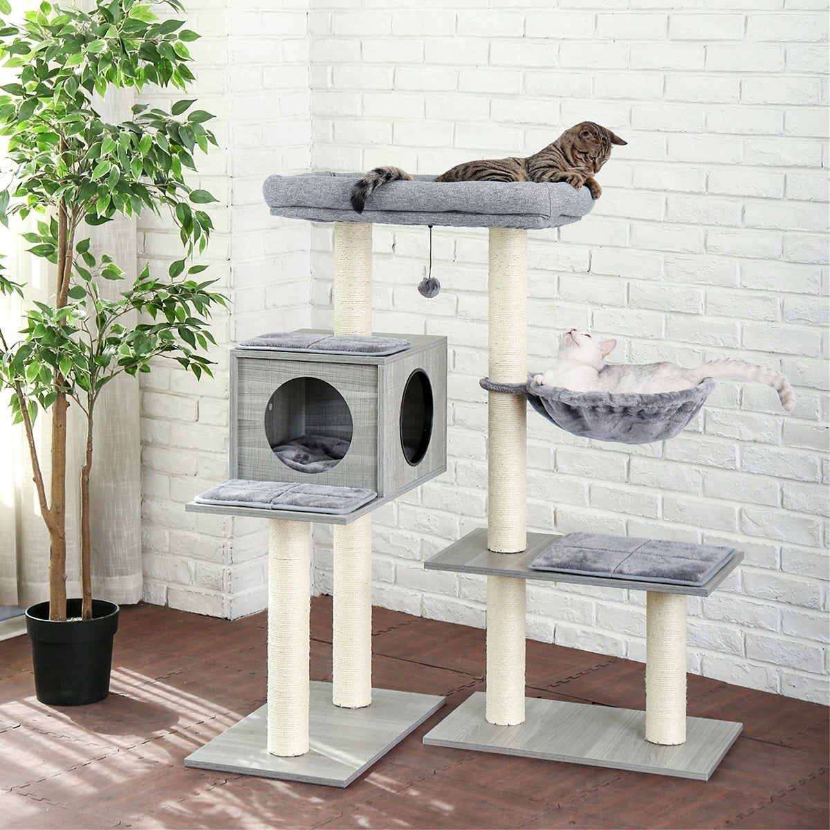 Merax 5 Levels Modern Cat Tree Varied Styles Cat Tower With 7 Sisal Scratching Posts Deep Hammock And Extra Large Perch Gray On Sale Overstock 32531084