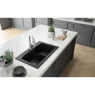 "Lavello Granite Composite 33"" Drop in Double Bowl Kitchen Sink Orion 1 Hole"