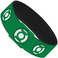 """Green Lantern Logo2 Green Black Green White Elastic Bracelet   1.0"""" Wide"""