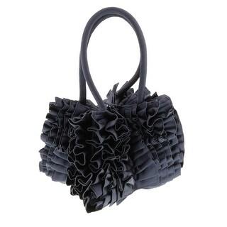 Scheilan Navy Blue Fabric Ruffled Top Handle Bag