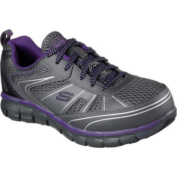 4dd6cbaec938 Skechers Women  x27 s Work Synergy Algonac Alloy Toe Sneaker Charcoal Purple