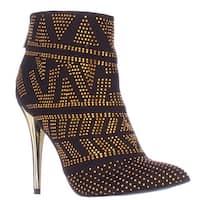 TS35 Alejandra Mini Studded Pointed Toe Dress Boots, Black