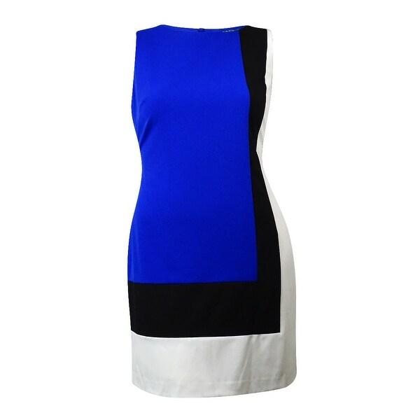 Ralph Lauren Women's Colorblock Sleeveless Sheath Dress - sport blue/black