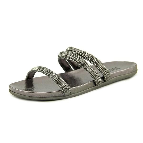 Kenneth Cole Reaction Slim Shotz Women Open Toe Canvas Gray Slides Sandal